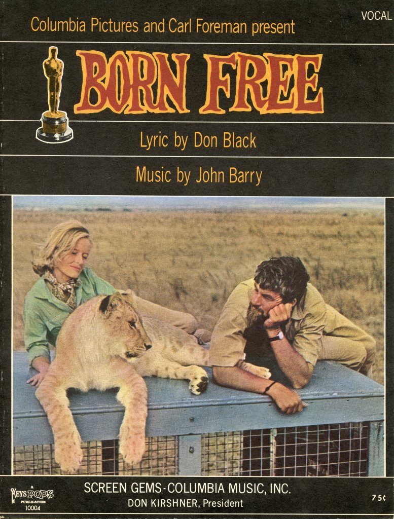 "Sheet music for the Oscar-winning song, ""Born Free,"" with music by John Barry and lyrics by Don Black."