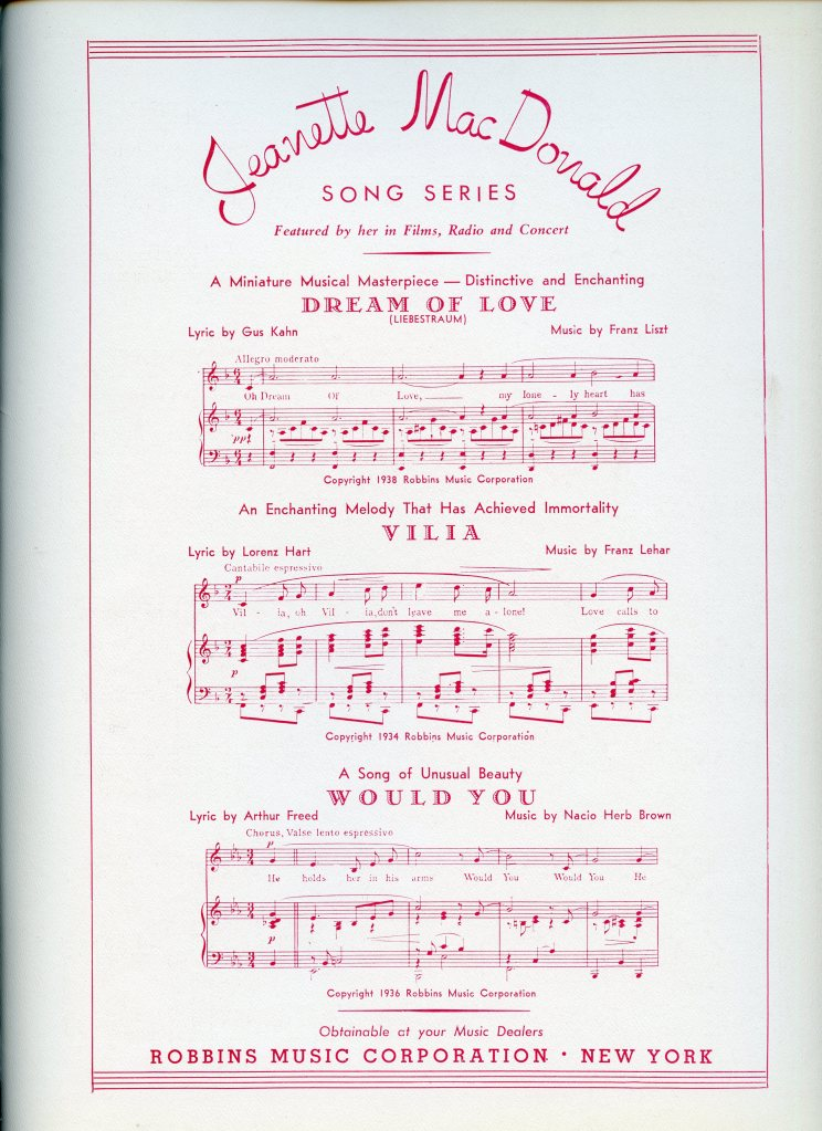 "Advertising found inside the piano solo sheet music for ""Two Guitars,"" highlighting pieces in the Jeanette MacDonald song series, including ""Dream of Love,"" ""Vilia,"" and ""Would You."""